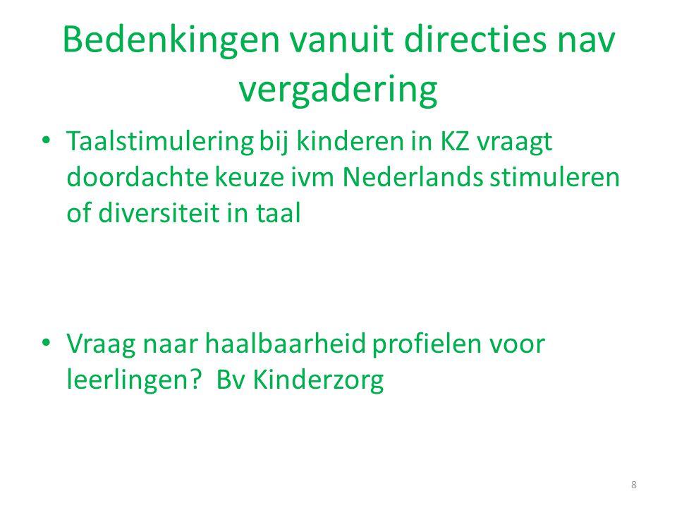 Bedenkingen vanuit directies nav vergadering Taalstimulering bij kinderen in KZ vraagt doordachte keuze ivm Nederlands stimuleren of diversiteit in ta