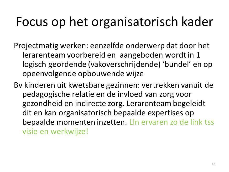 Focus op het organisatorisch kader Projectmatig werken: eenzelfde onderwerp dat door het lerarenteam voorbereid en aangeboden wordt in 1 logisch geord