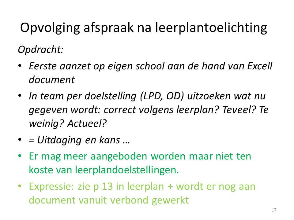 Opvolging afspraak na leerplantoelichting Opdracht: Eerste aanzet op eigen school aan de hand van Excell document In team per doelstelling (LPD, OD) u