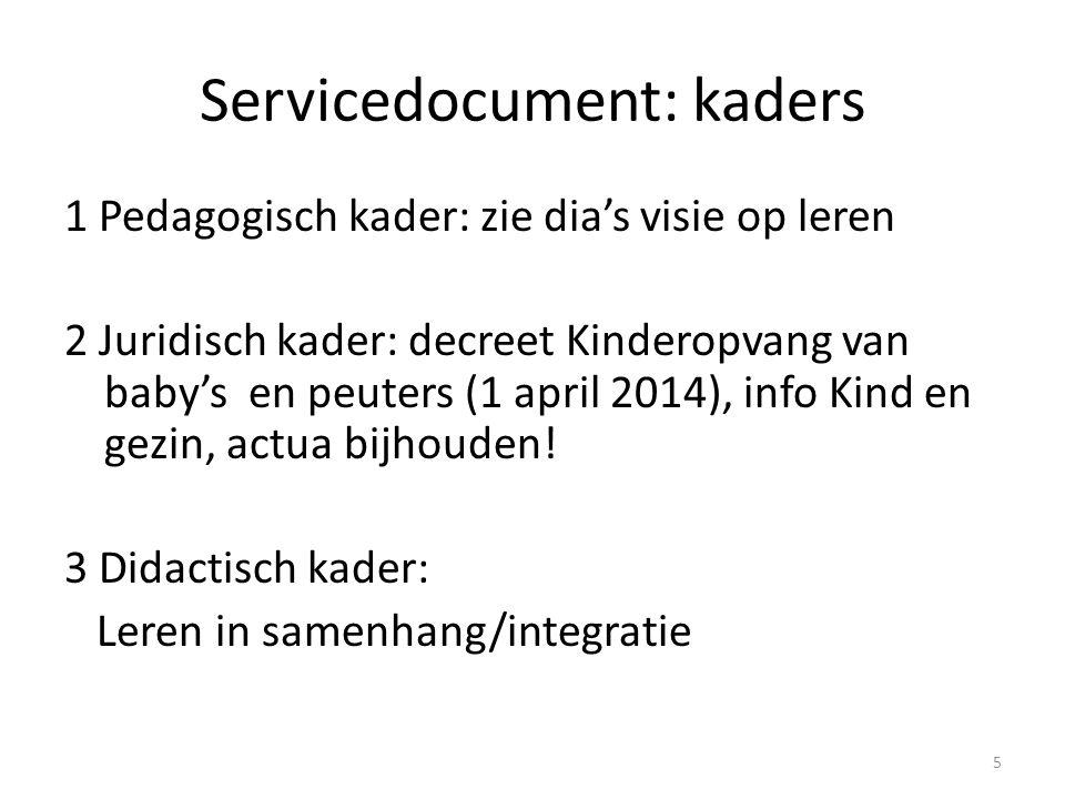 Servicedocument: kaders 1 Pedagogisch kader: zie dia's visie op leren 2 Juridisch kader: decreet Kinderopvang van baby's en peuters (1 april 2014), in