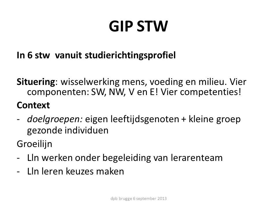 GIP STW In 6 stw vanuit studierichtingsprofiel Situering: wisselwerking mens, voeding en milieu. Vier componenten: SW, NW, V en E! Vier competenties!