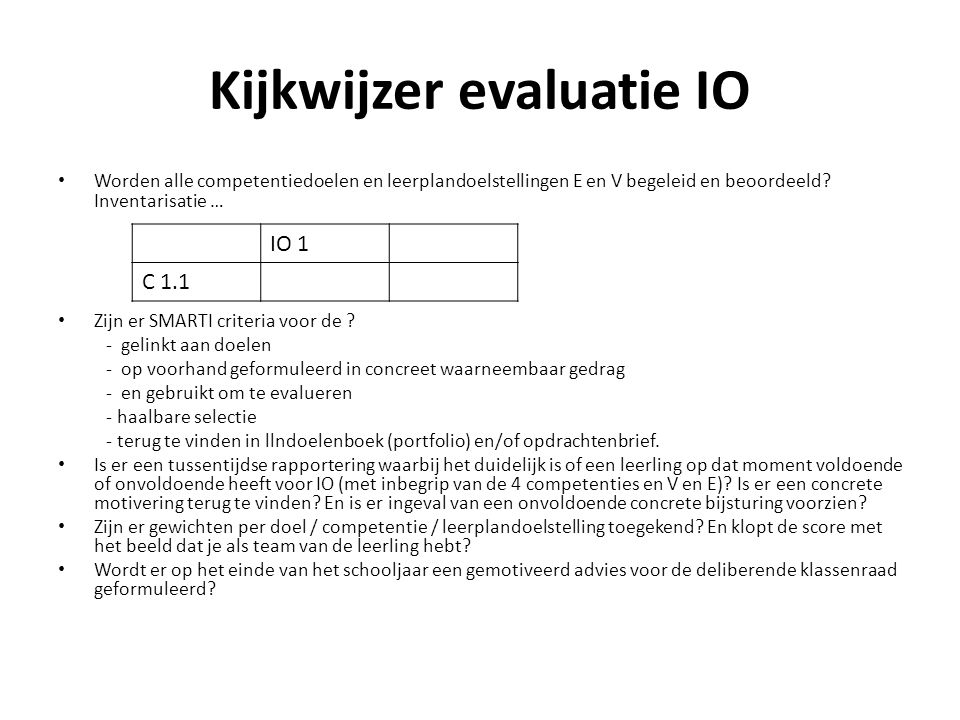 Kijkwijzer evaluatie IO Worden alle competentiedoelen en leerplandoelstellingen E en V begeleid en beoordeeld? Inventarisatie … Zijn er SMARTI criteri
