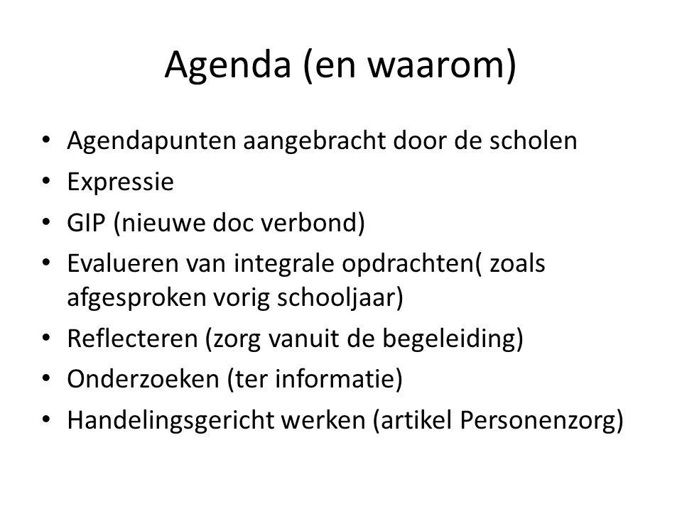 Agenda (en waarom) Agendapunten aangebracht door de scholen Expressie GIP (nieuwe doc verbond) Evalueren van integrale opdrachten( zoals afgesproken v