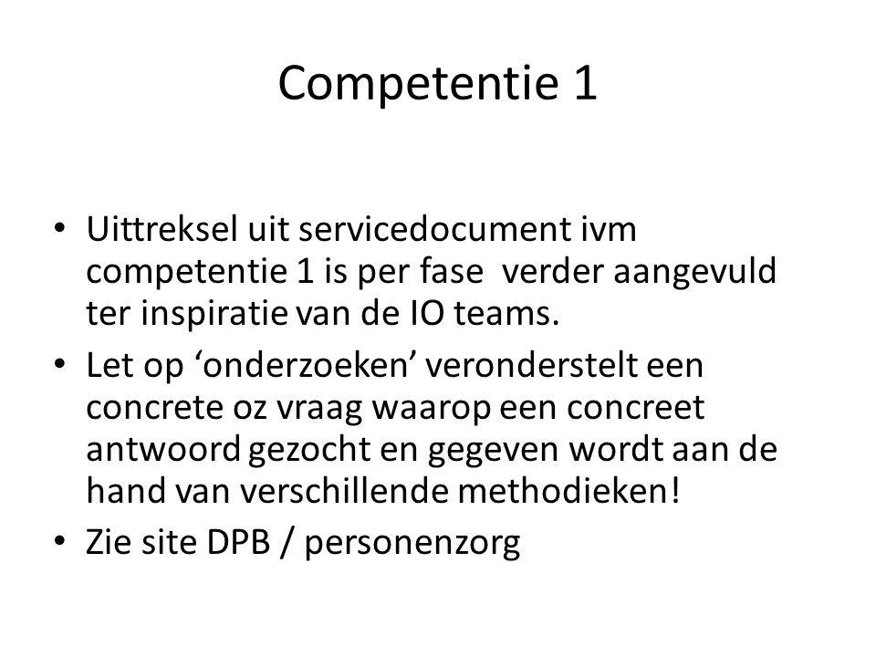 Competentie 1 Uittreksel uit servicedocument ivm competentie 1 is per fase verder aangevuld ter inspiratie van de IO teams. Let op 'onderzoeken' veron