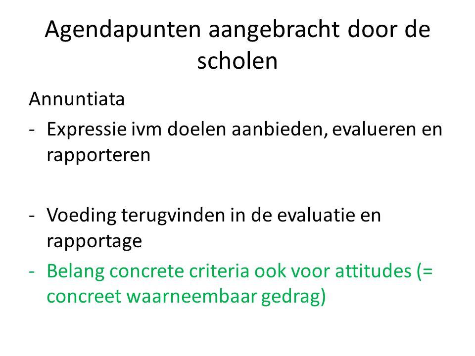 Agendapunten aangebracht door de scholen Annuntiata -Expressie ivm doelen aanbieden, evalueren en rapporteren -Voeding terugvinden in de evaluatie en