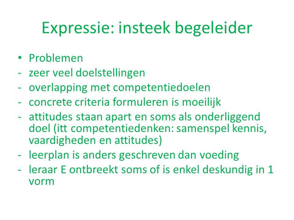 Expressie: insteek begeleider Problemen -zeer veel doelstellingen -overlapping met competentiedoelen -concrete criteria formuleren is moeilijk -attitu