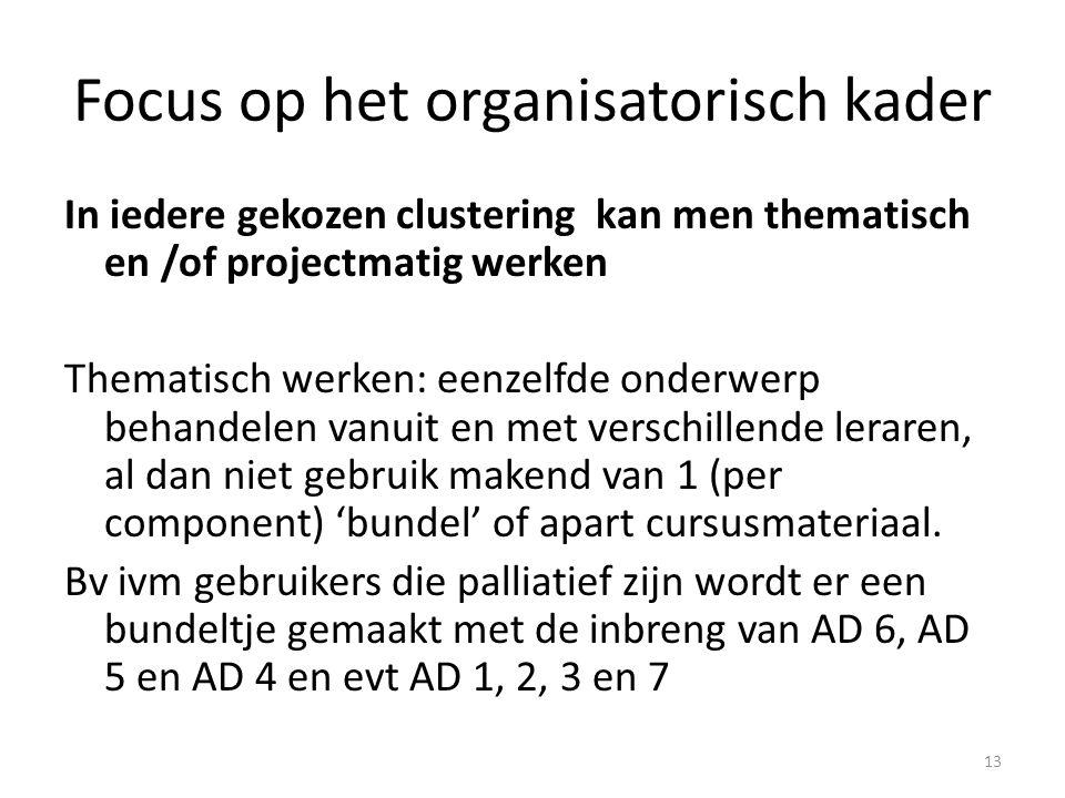 Focus op het organisatorisch kader In iedere gekozen clustering kan men thematisch en /of projectmatig werken Thematisch werken: eenzelfde onderwerp b