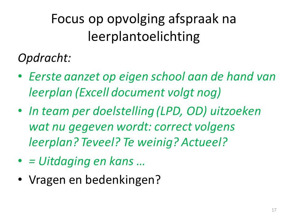 Focus op opvolging afspraak na leerplantoelichting Opdracht: Eerste aanzet op eigen school aan de hand van leerplan (Excell document volgt nog) In tea