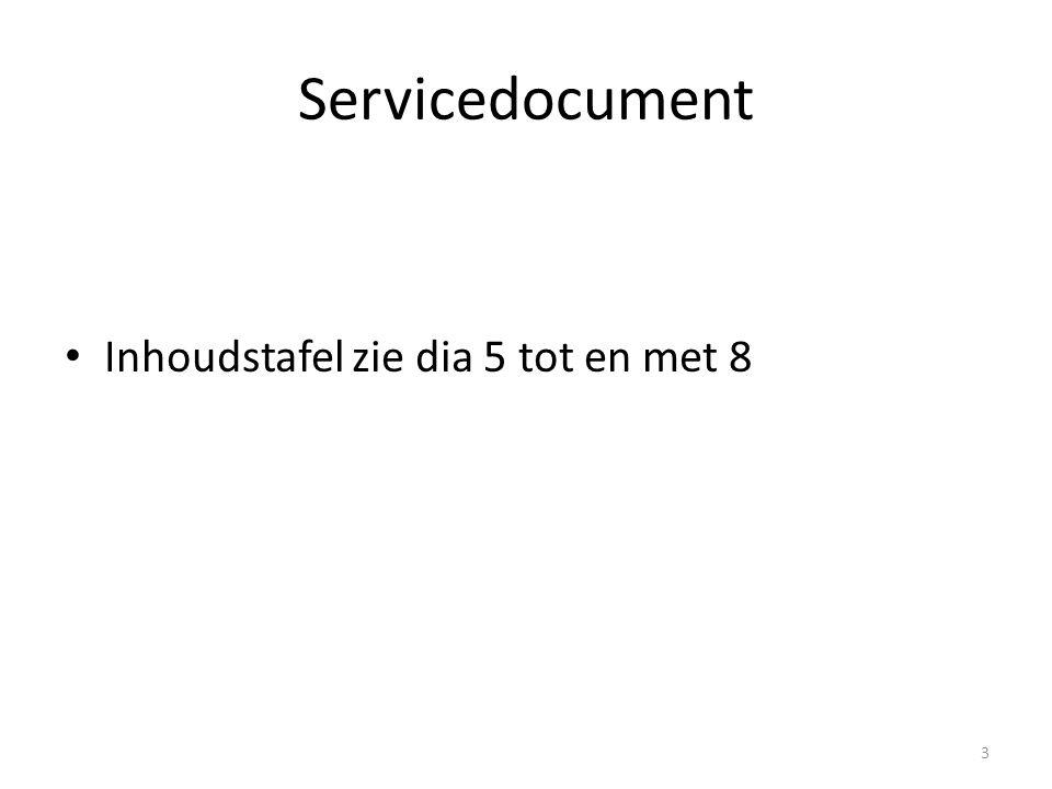 Servicedocument Inhoudstafel zie dia 5 tot en met 8 3