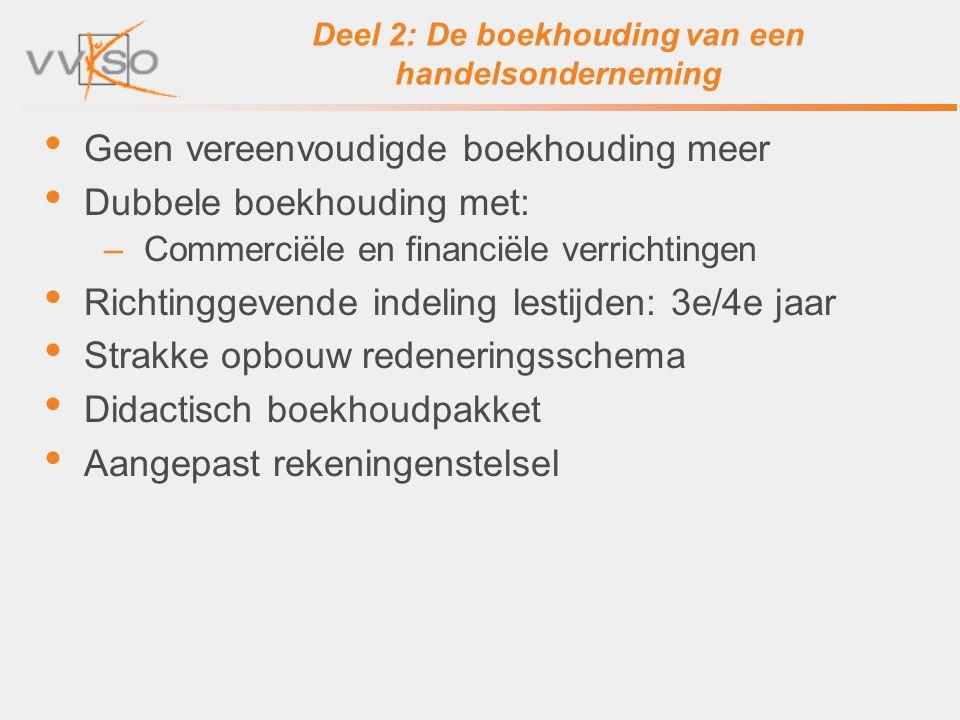 Deel 2: De boekhouding van een handelsonderneming Geen vereenvoudigde boekhouding meer Dubbele boekhouding met: –Commerciële en financiële verrichting