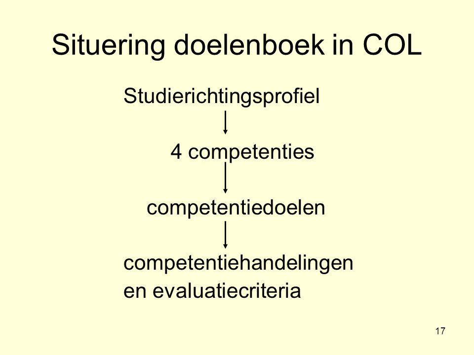 17 Situering doelenboek in COL Studierichtingsprofiel 4 competenties competentiedoelen competentiehandelingen en evaluatiecriteria
