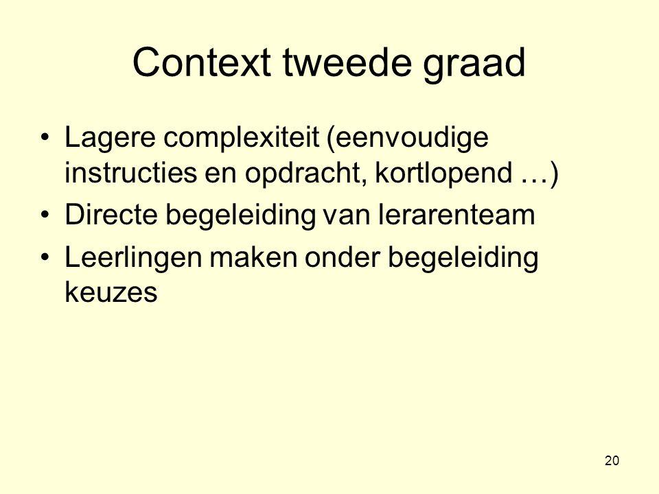 Context derde graad Hogere complexiteit Onder begeleiding van het lerarenteam Leerlingen maken keuzes op zelfstandige basis 21
