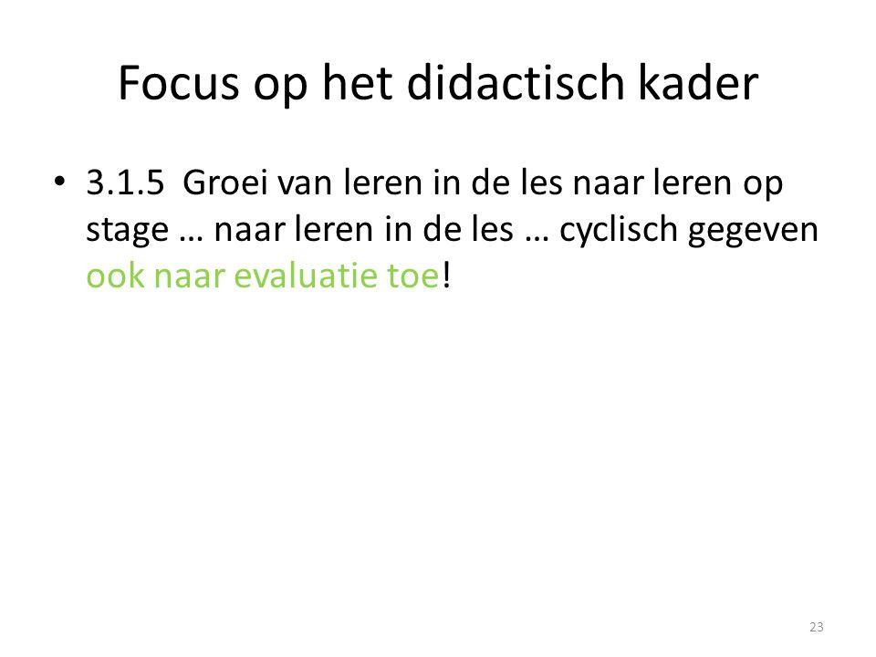 Focus op het didactisch kader 3.1.5 Groei van leren in de les naar leren op stage … naar leren in de les … cyclisch gegeven ook naar evaluatie toe! 23