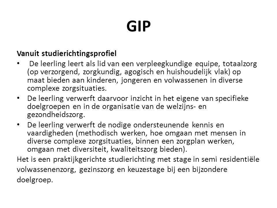 GIP Vanuit studierichtingsprofiel De leerling leert als lid van een verpleegkundige equipe, totaalzorg (op verzorgend, zorgkundig, agogisch en huishou