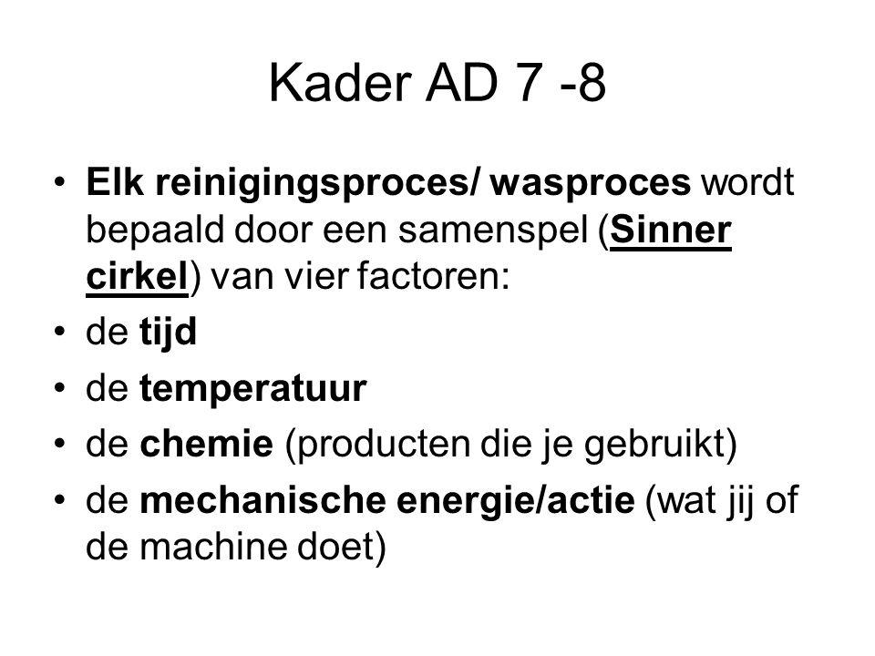Kader AD 7 -8 Elk reinigingsproces/ wasproces wordt bepaald door een samenspel (Sinner cirkel) van vier factoren: de tijd de temperatuur de chemie (pr