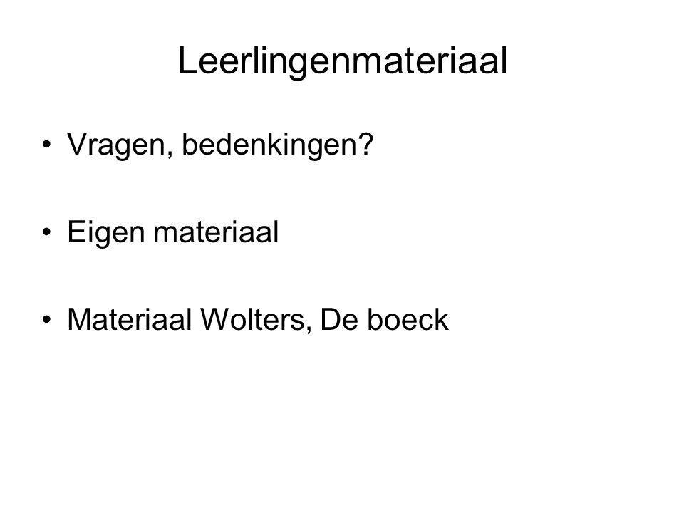 Leerlingenmateriaal Vragen, bedenkingen? Eigen materiaal Materiaal Wolters, De boeck