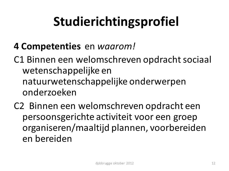 Studierichtingsprofiel 4 Competenties en waarom! C1 Binnen een welomschreven opdracht sociaal wetenschappelijke en natuurwetenschappelijke onderwerpen