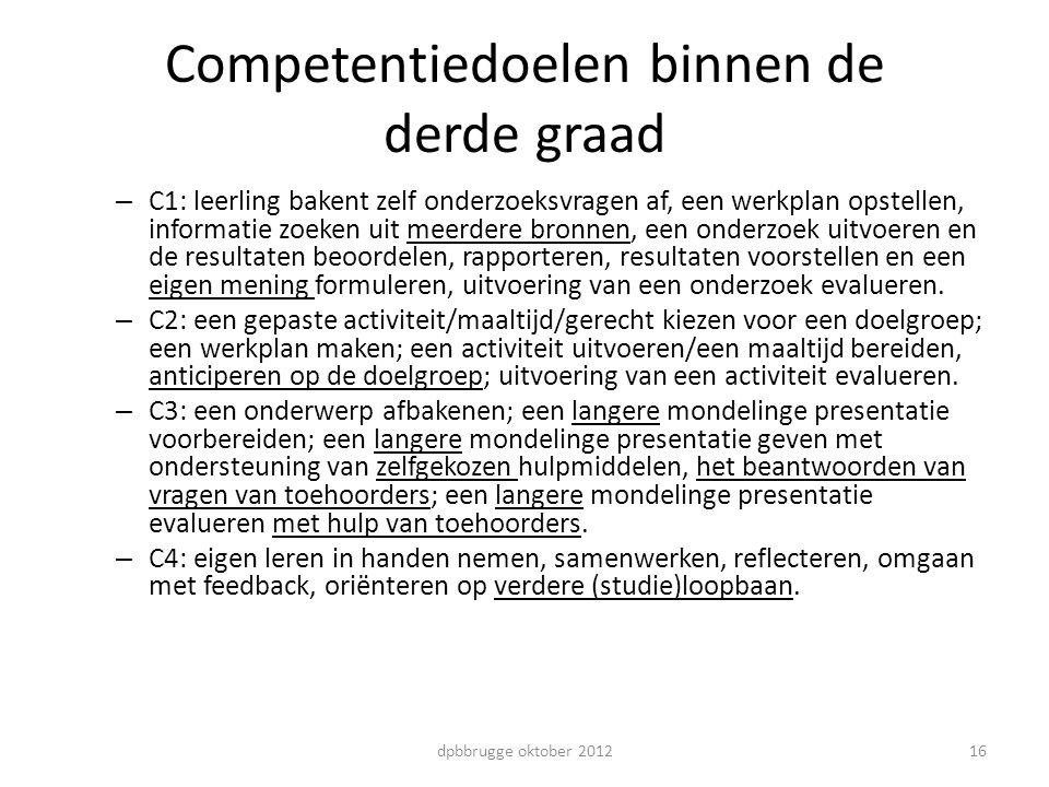 Competentiedoelen binnen de derde graad – C1: leerling bakent zelf onderzoeksvragen af, een werkplan opstellen, informatie zoeken uit meerdere bronnen