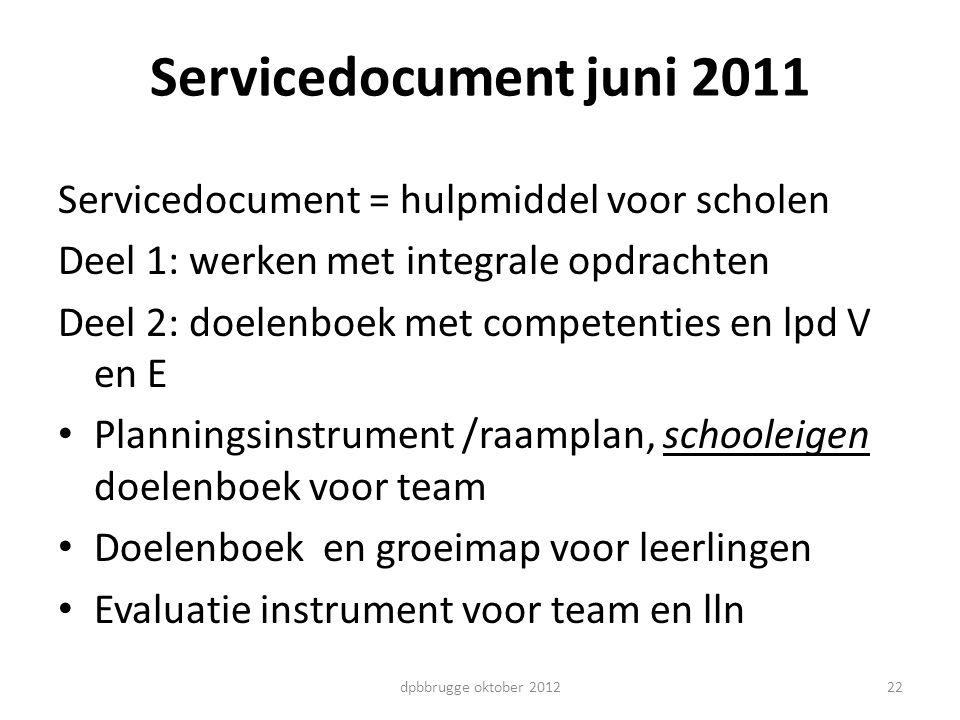 22 Servicedocument juni 2011 Servicedocument = hulpmiddel voor scholen Deel 1: werken met integrale opdrachten Deel 2: doelenboek met competenties en