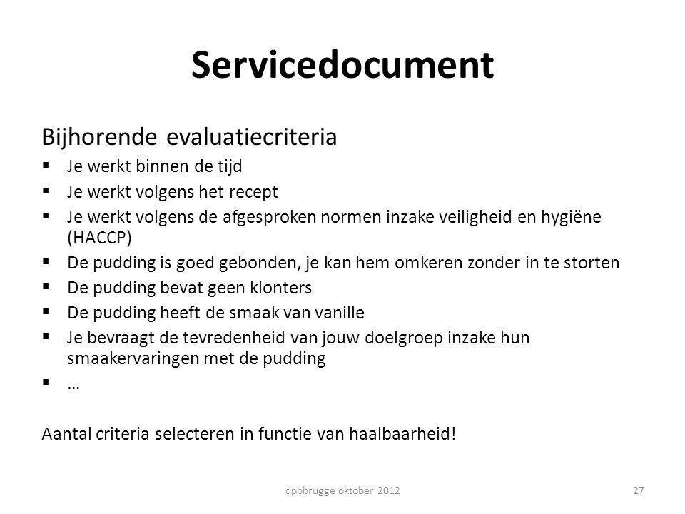 27 Servicedocument Bijhorende evaluatiecriteria  Je werkt binnen de tijd  Je werkt volgens het recept  Je werkt volgens de afgesproken normen inzak