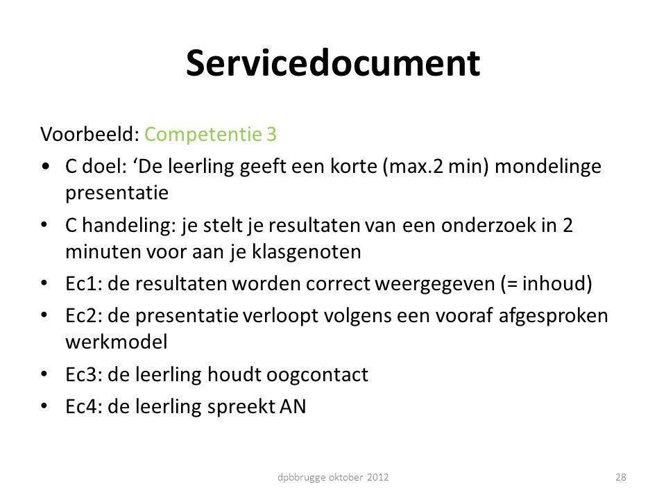 28 Servicedocument Voorbeeld: Competentie 3 C doel: 'De leerling geeft een korte (max.2 min) mondelinge presentatie C handeling: je stelt je resultate