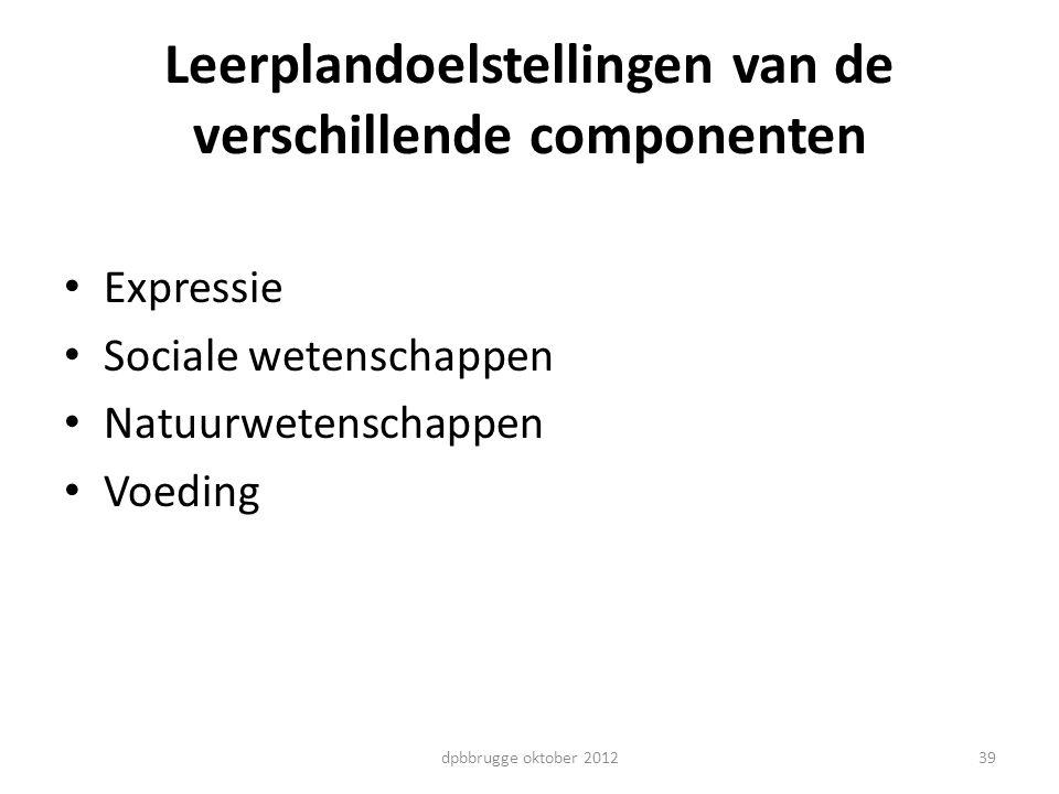 Leerplandoelstellingen van de verschillende componenten Expressie Sociale wetenschappen Natuurwetenschappen Voeding 39dpbbrugge oktober 2012
