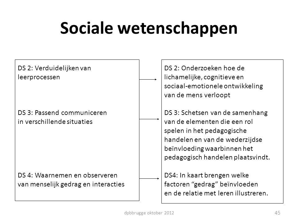 45 Sociale wetenschappen DS 2: Verduidelijken van leerprocessen DS 3: Passend communiceren in verschillende situaties DS 4: Waarnemen en observeren va