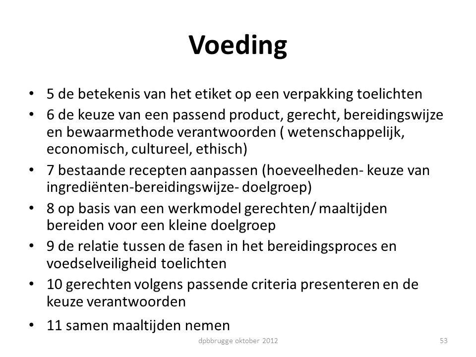 Voeding 5 de betekenis van het etiket op een verpakking toelichten 6 de keuze van een passend product, gerecht, bereidingswijze en bewaarmethode veran
