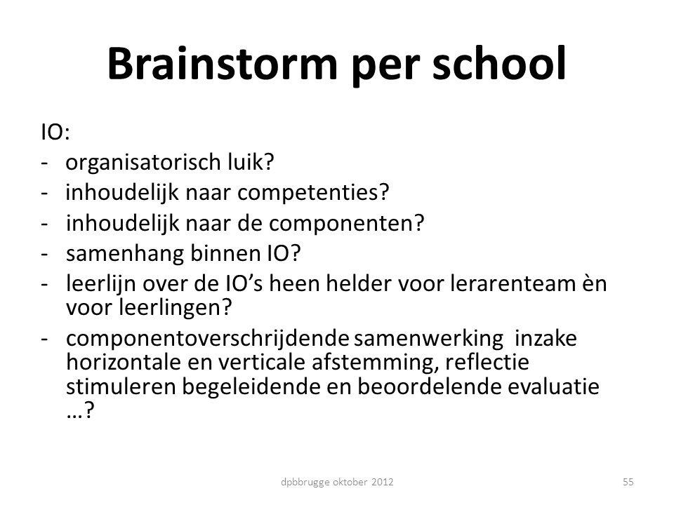 Brainstorm per school IO: - organisatorisch luik? - inhoudelijk naar competenties? -inhoudelijk naar de componenten? -samenhang binnen IO? -leerlijn o