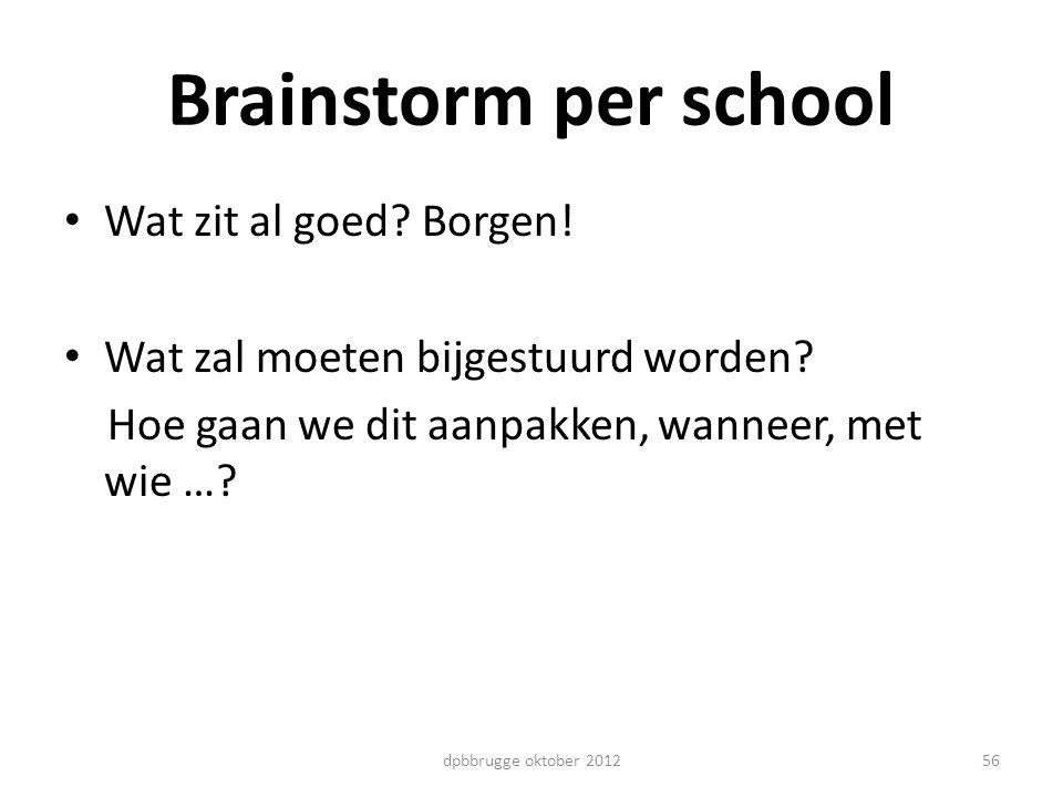 Brainstorm per school Wat zit al goed? Borgen! Wat zal moeten bijgestuurd worden? Hoe gaan we dit aanpakken, wanneer, met wie …? 56dpbbrugge oktober 2