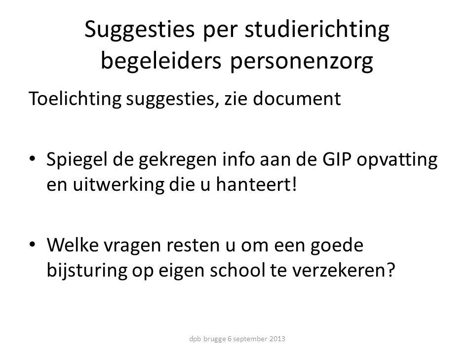 Suggesties per studierichting begeleiders personenzorg Toelichting suggesties, zie document Spiegel de gekregen info aan de GIP opvatting en uitwerking die u hanteert.