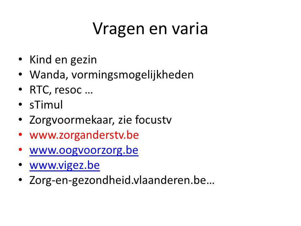 Vragen en varia Kind en gezin Wanda, vormingsmogelijkheden RTC, resoc … sTimul Zorgvoormekaar, zie focustv www.zorganderstv.be www.oogvoorzorg.be www.vigez.be Zorg-en-gezondheid.vlaanderen.be…