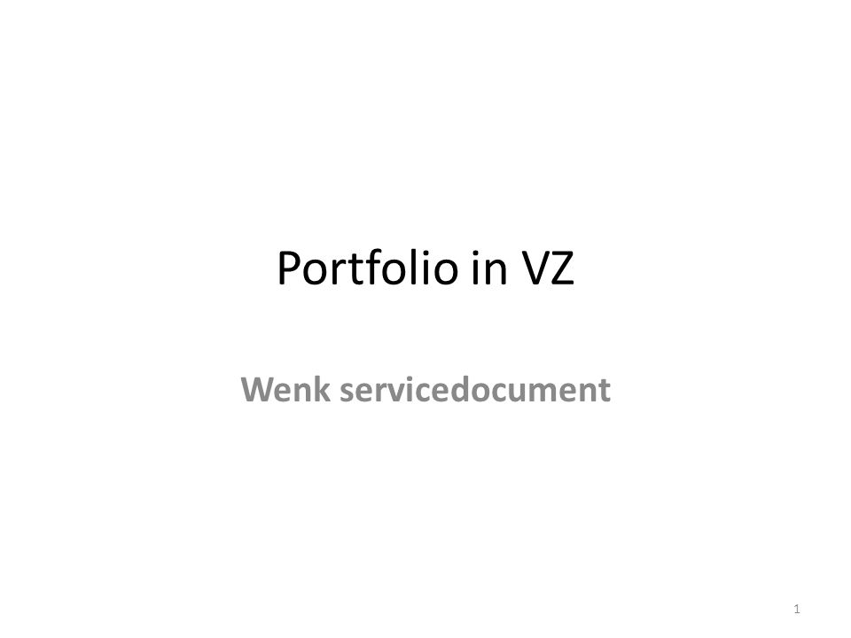 Portfolio in VZ Wenk servicedocument 1