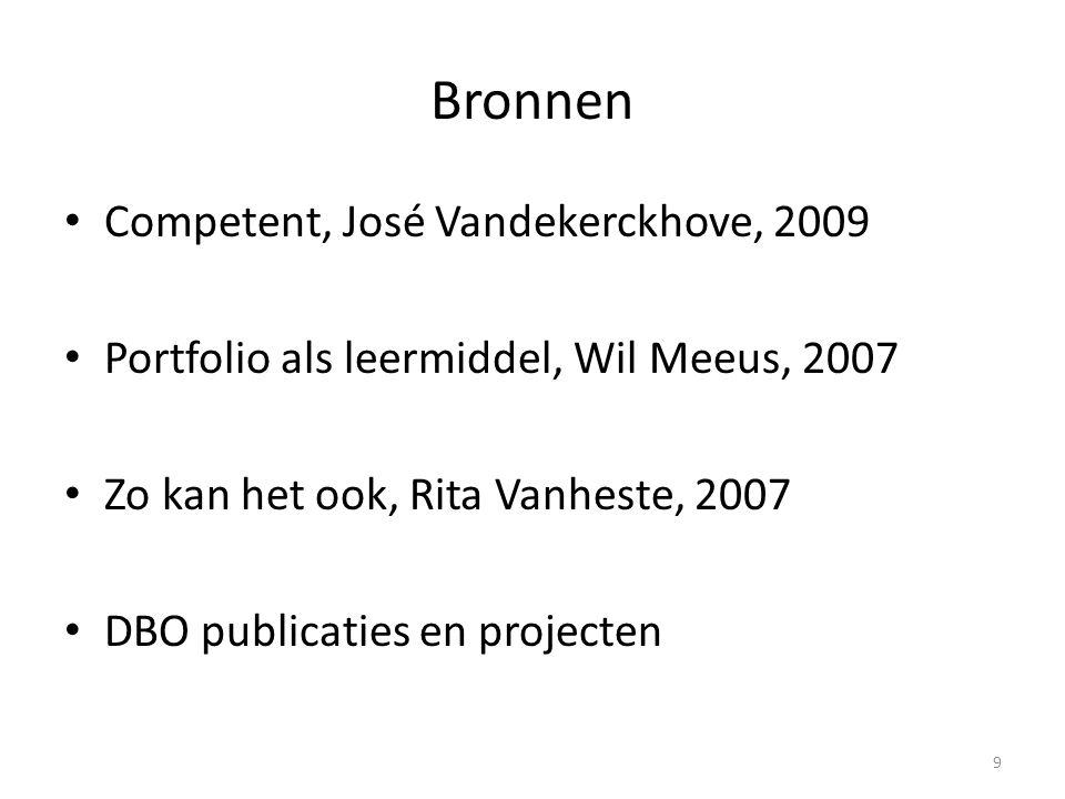 Bronnen Competent, José Vandekerckhove, 2009 Portfolio als leermiddel, Wil Meeus, 2007 Zo kan het ook, Rita Vanheste, 2007 DBO publicaties en projecten 9