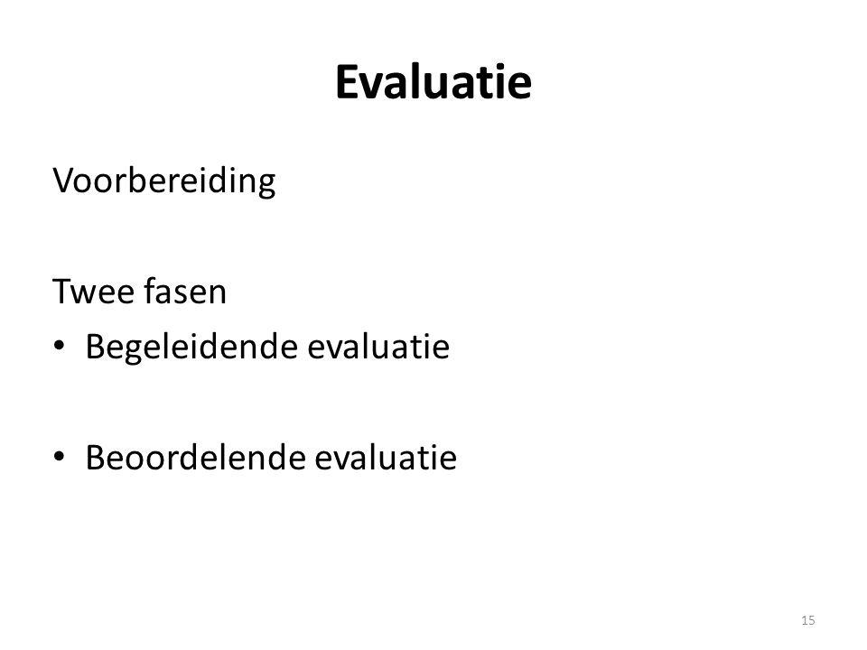 Evaluatie Voorbereiding Twee fasen Begeleidende evaluatie Beoordelende evaluatie 15