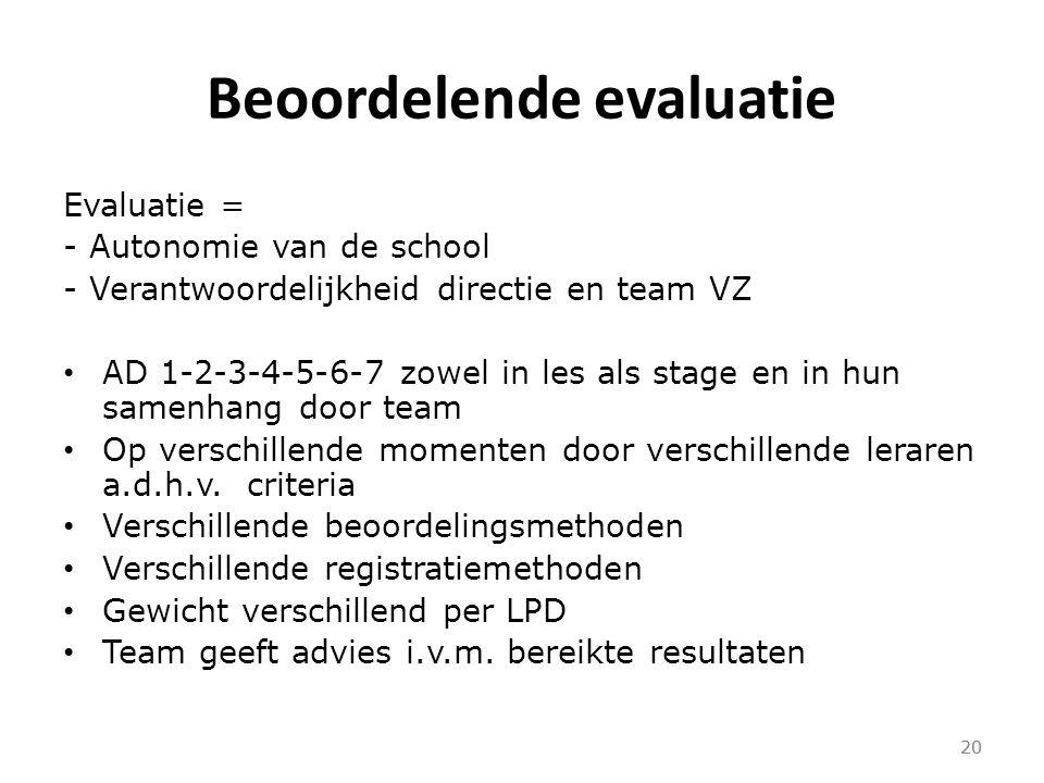 20 Beoordelende evaluatie Evaluatie = - Autonomie van de school - Verantwoordelijkheid directie en team VZ AD 1-2-3-4-5-6-7 zowel in les als stage en in hun samenhang door team Op verschillende momenten door verschillende leraren a.d.h.v.