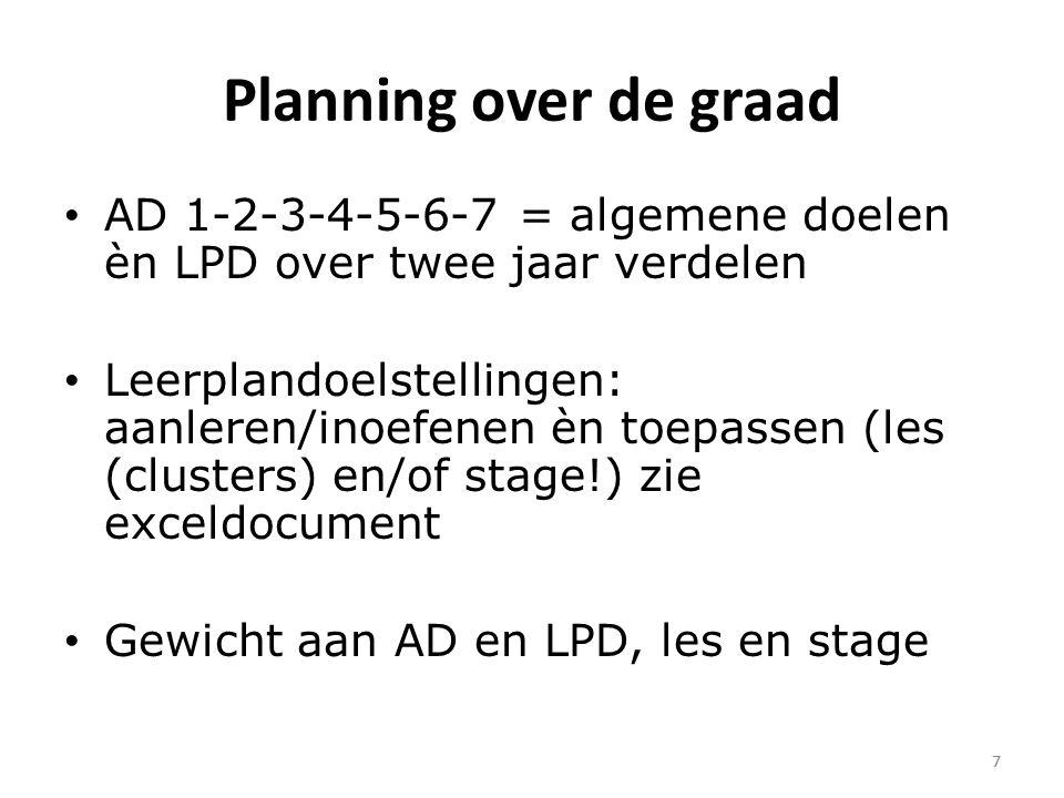 7 Planning over de graad AD 1-2-3-4-5-6-7 = algemene doelen èn LPD over twee jaar verdelen Leerplandoelstellingen: aanleren/inoefenen èn toepassen (les (clusters) en/of stage!) zie exceldocument Gewicht aan AD en LPD, les en stage 7