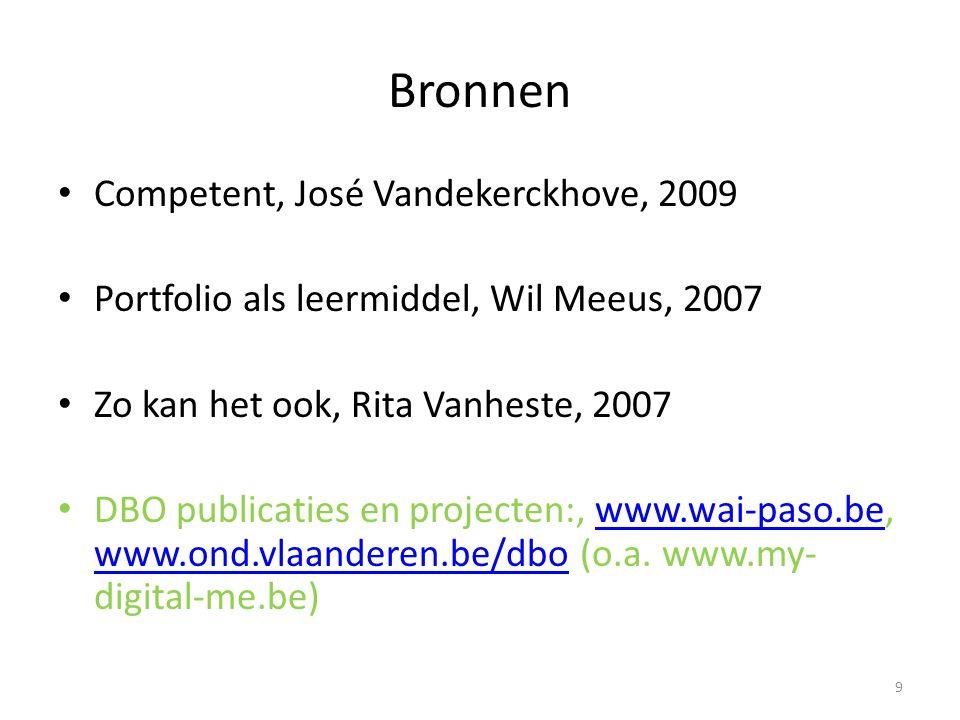Bronnen Competent, José Vandekerckhove, 2009 Portfolio als leermiddel, Wil Meeus, 2007 Zo kan het ook, Rita Vanheste, 2007 DBO publicaties en projecten:, www.wai-paso.be, www.ond.vlaanderen.be/dbo (o.a.
