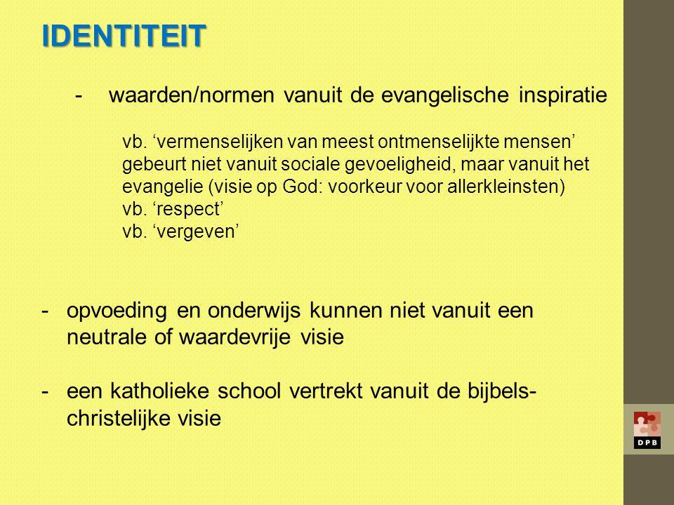 IDENTITEIT -waarden/normen vanuit de evangelische inspiratie vb. 'vermenselijken van meest ontmenselijkte mensen' gebeurt niet vanuit sociale gevoelig