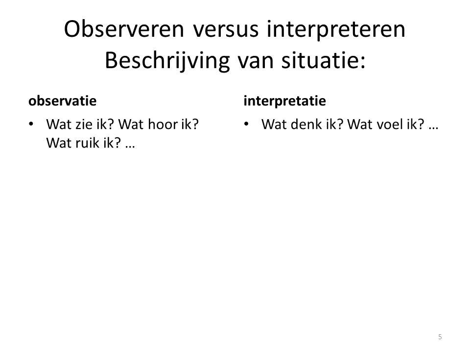 Observeren versus interpreteren Beschrijving van situatie: observatie Wat zie ik? Wat hoor ik? Wat ruik ik? … interpretatie Wat denk ik? Wat voel ik?