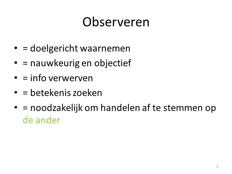 Observeren = doelgericht waarnemen = nauwkeurig en objectief = info verwerven = betekenis zoeken = noodzakelijk om handelen af te stemmen op de ander
