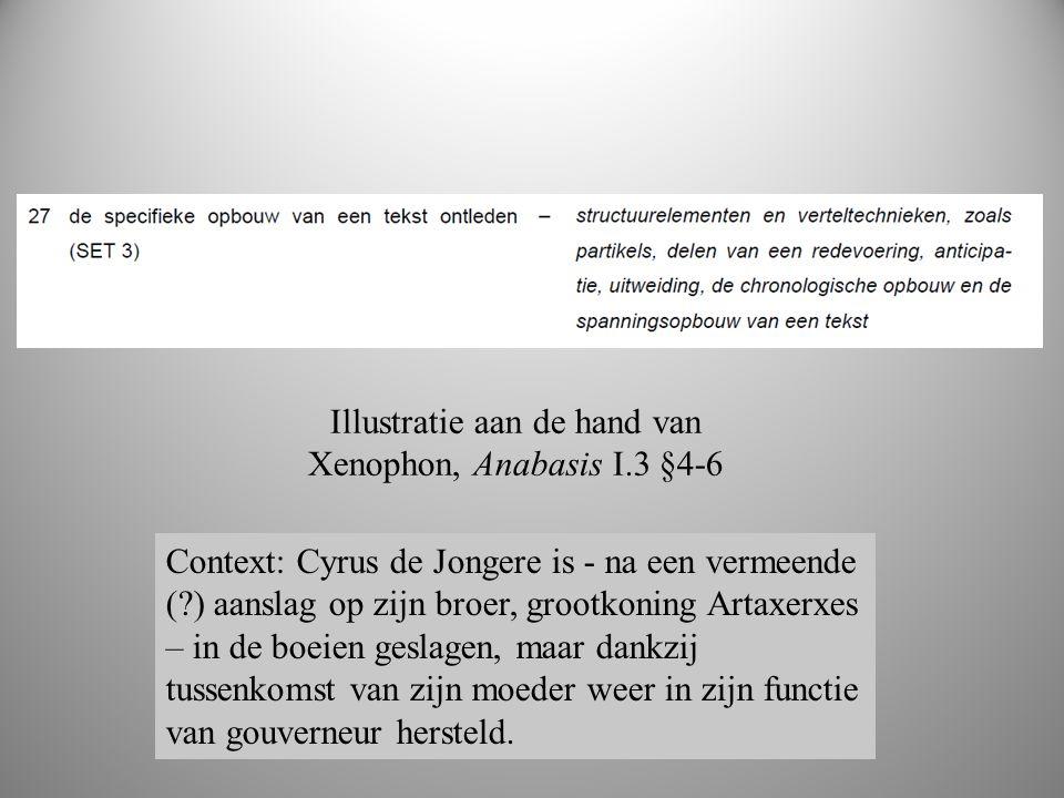 boek 2 Illustratie aan de hand van Xenophon, Anabasis I.3 §4-6 Context: Cyrus de Jongere is - na een vermeende ( ) aanslag op zijn broer, grootkoning Artaxerxes – in de boeien geslagen, maar dankzij tussenkomst van zijn moeder weer in zijn functie van gouverneur hersteld.