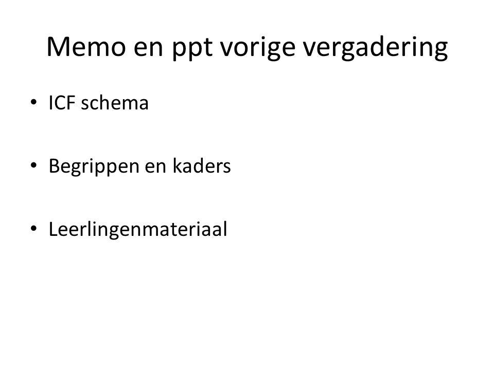 Memo en ppt vorige vergadering ICF schema Begrippen en kaders Leerlingenmateriaal