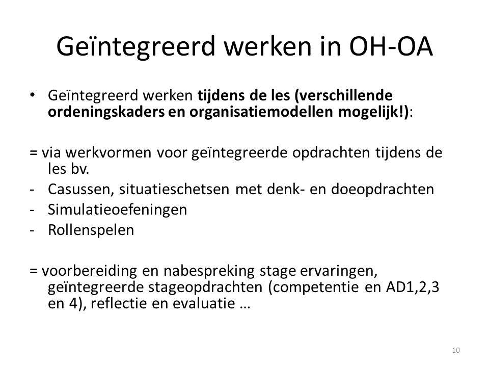 Geïntegreerd werken in OH-OA Geïntegreerd werken tijdens de les (verschillende ordeningskaders en organisatiemodellen mogelijk!): = via werkvormen voor geïntegreerde opdrachten tijdens de les bv.