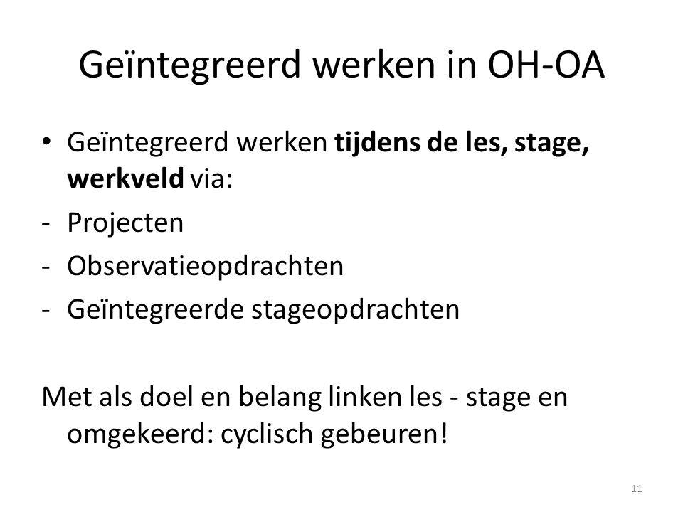 Geïntegreerd werken in OH-OA Geïntegreerd werken tijdens de les, stage, werkveld via: -Projecten -Observatieopdrachten -Geïntegreerde stageopdrachten
