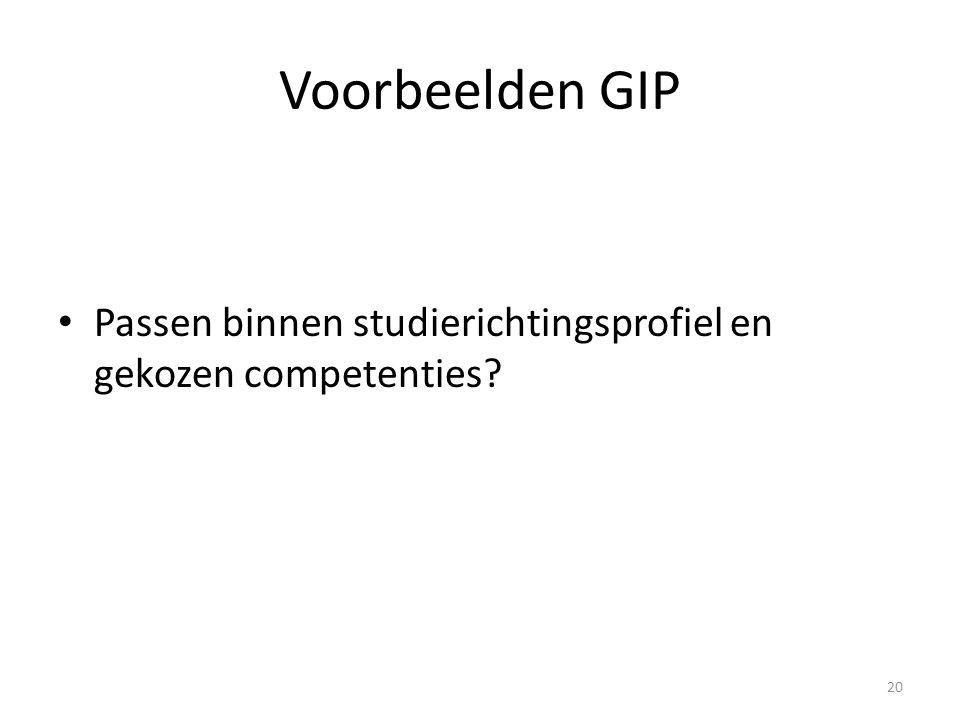 Voorbeelden GIP Passen binnen studierichtingsprofiel en gekozen competenties? 20