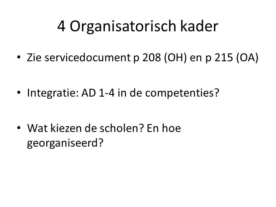 4 Organisatorisch kader Zie servicedocument p 208 (OH) en p 215 (OA) Integratie: AD 1-4 in de competenties? Wat kiezen de scholen? En hoe georganiseer