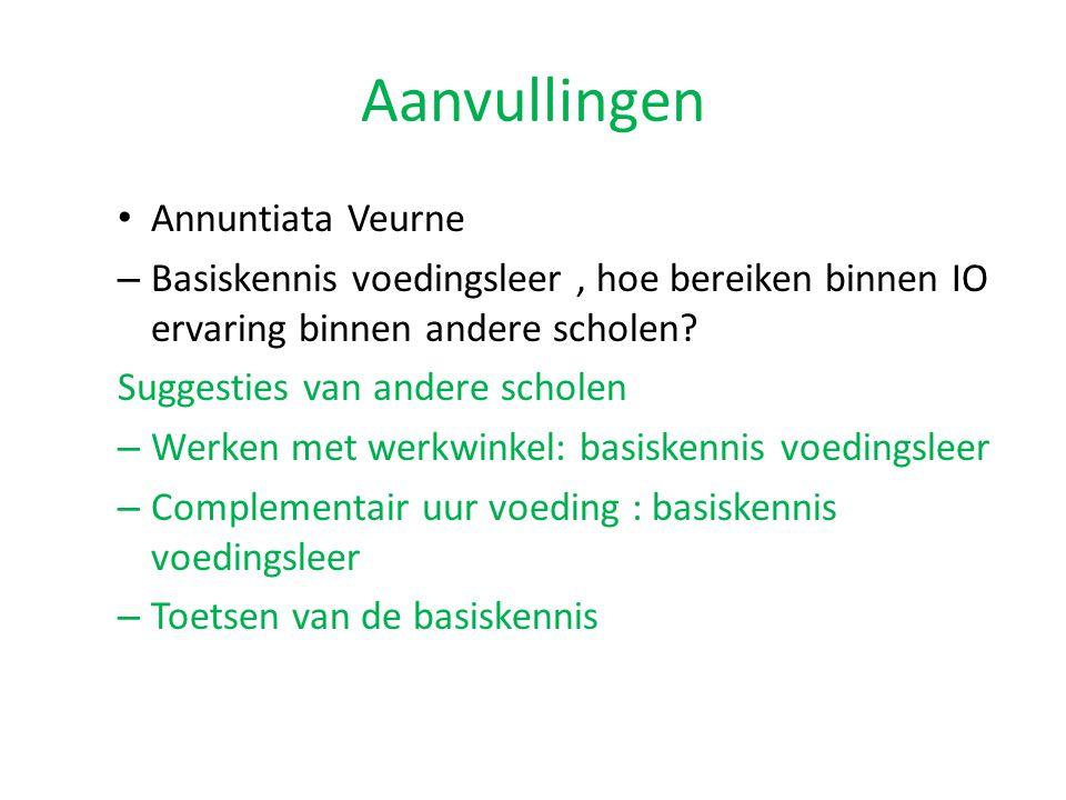 Aanvullingen Annuntiata Veurne – Basiskennis voedingsleer, hoe bereiken binnen IO ervaring binnen andere scholen? Suggesties van andere scholen – Werk