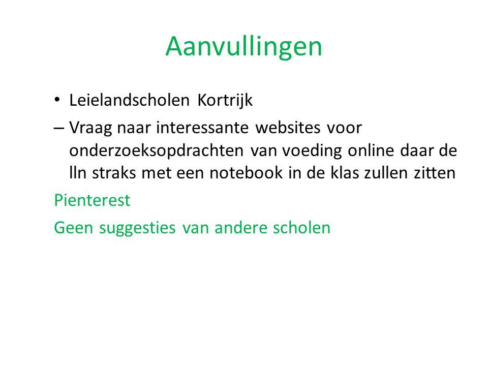 Aanvullingen Leielandscholen Kortrijk – Vraag naar interessante websites voor onderzoeksopdrachten van voeding online daar de lln straks met een noteb
