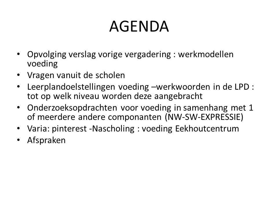 AGENDA Opvolging verslag vorige vergadering : werkmodellen voeding Vragen vanuit de scholen Leerplandoelstellingen voeding –werkwoorden in de LPD : to